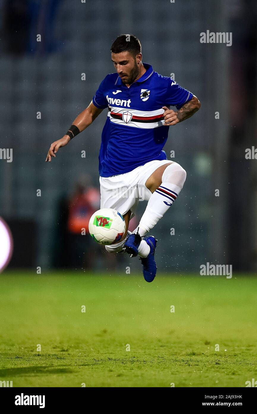 La Spezia, Italy. 7 August, 2019: Nicola Murru of UC Sampdoria in action during the pre-season friendly football match between Spezia Calcio and UC Sampdoria. UC Sampdoria won 5-3 over Spezia Calcio. Credit: Nicolò Campo/Alamy Live New Stock Photo