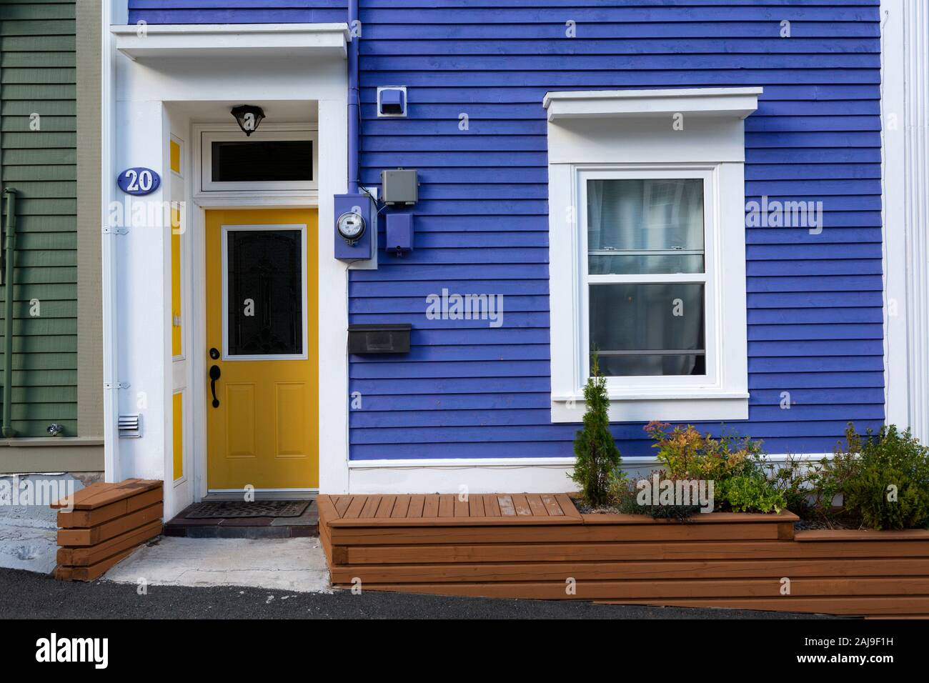 Facade Of A House In St John S Newfoundland And Labrador Canada The House Has A Yellow Door Stock Photo Alamy
