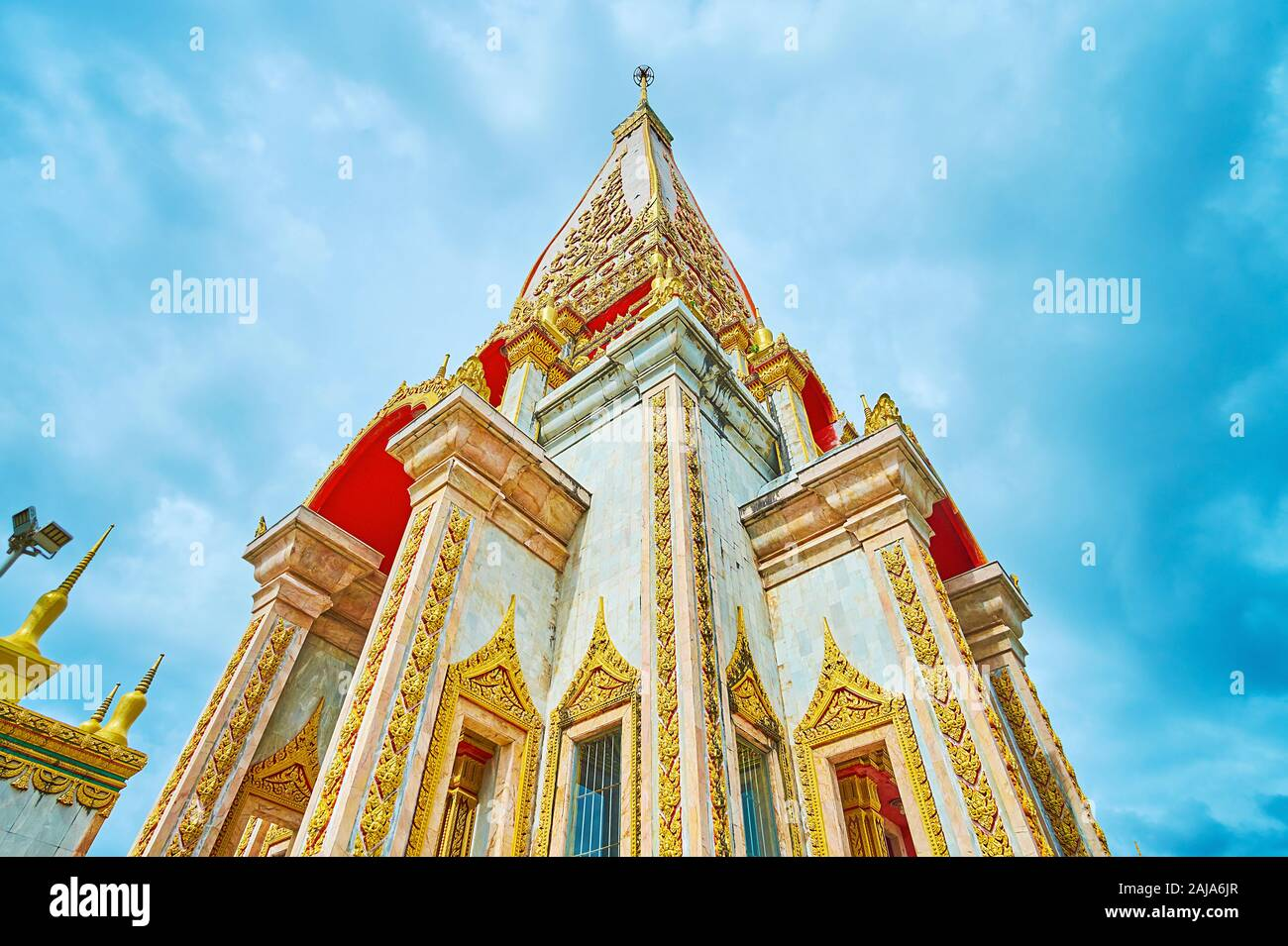The building of Wat Chalong Pagoda, also named Phra Mahathat Chedi Phra Jom Thai Baramee Prakat and located in Chalong, Phuket, Thailand Stock Photo