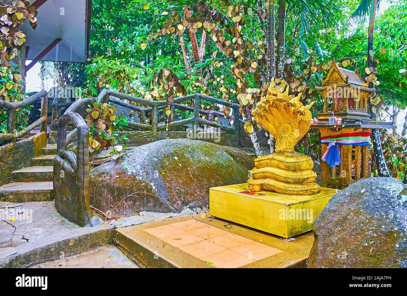 The slope of Nakkerd Hill is occupied with numerous small shrines, images and mondops of Great Phuket Buddha Temple, Chalong, Thailand Stock Photo