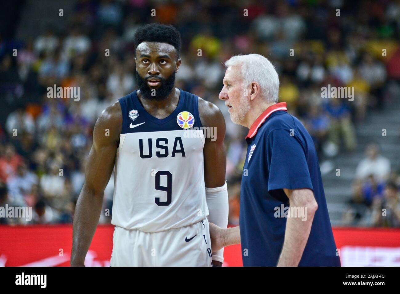 Gregg Popovich Talks To Jaylen Brown Usa Vs France Fiba Basketball World Cup China 2019 Qua Stock Photo Alamy