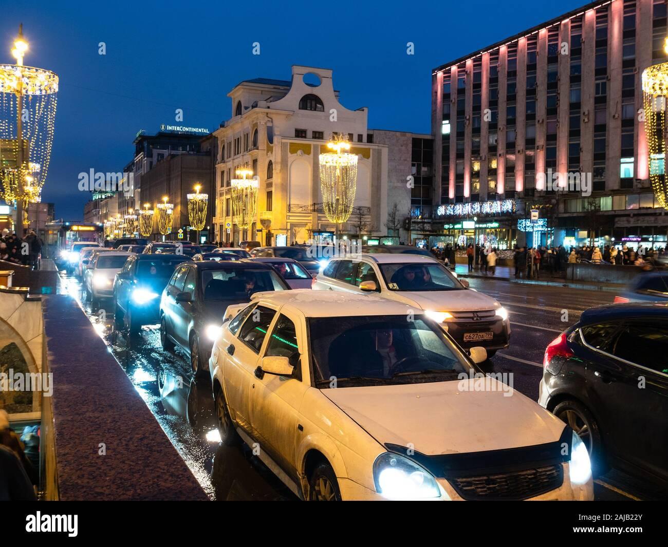 Christmas Traffic 2020 MOSCOW, RUSSIA   JANUARY 2, 2020: car traffic on Tverskaya Street