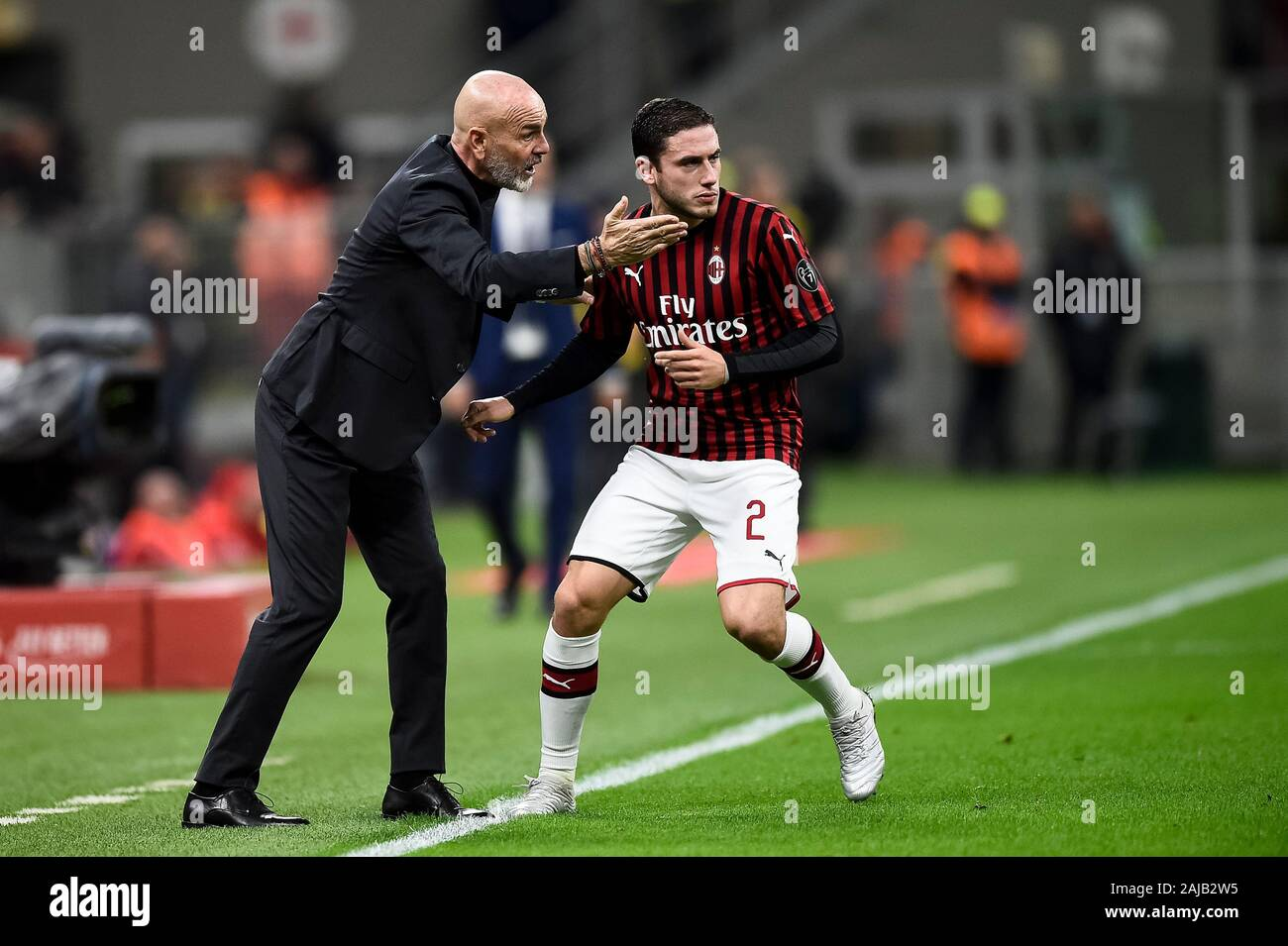 Milan Italy 31 October 2019 Stefano Pioli L Head Coach Of Ac Milan Speaks With Davide