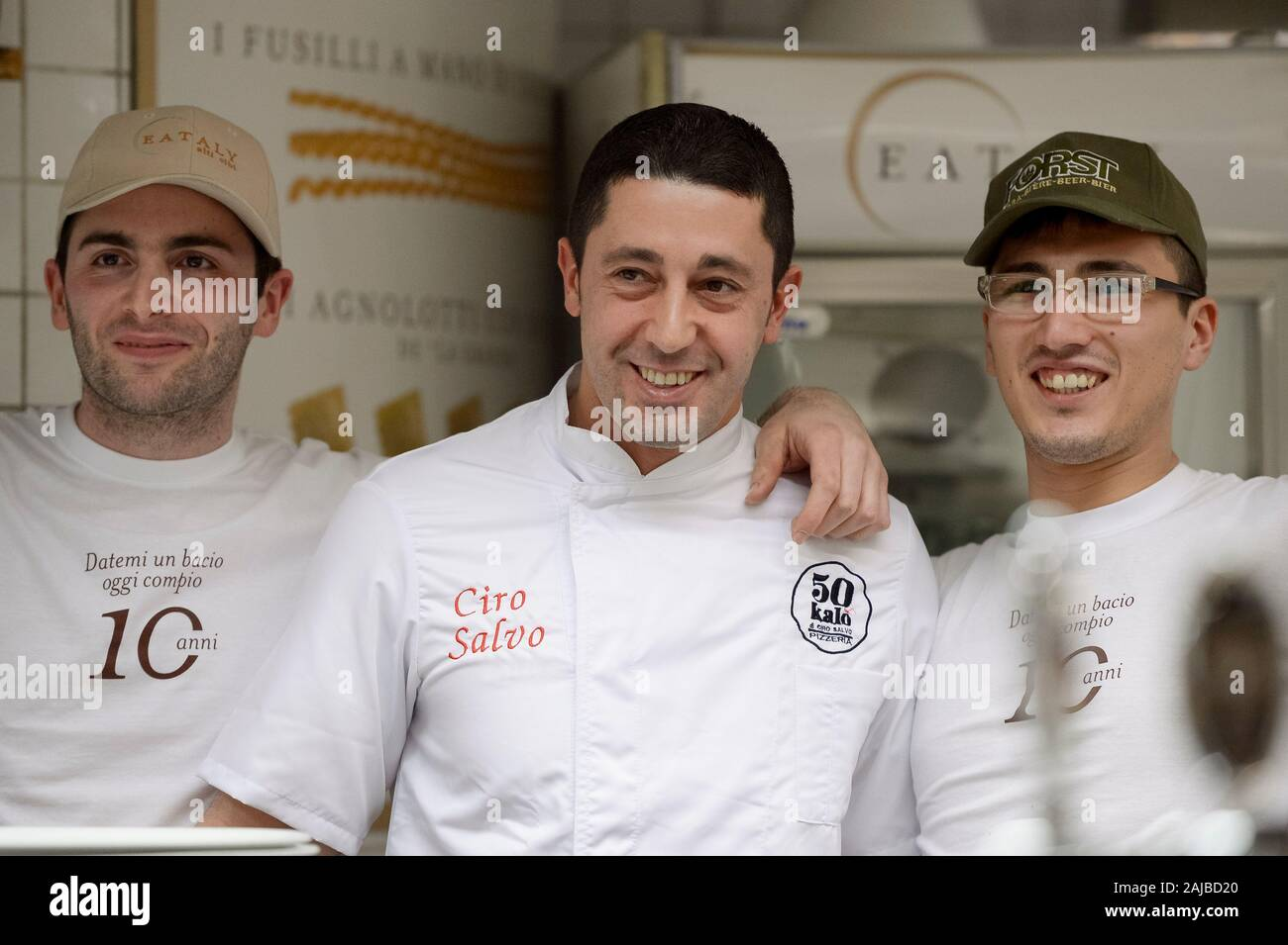 Turin, Italy - 27 January, 2017: The winning awards pizza chef Ciro Salvo (center) smiles during the celebration for Eataly 10th anniversay. Eataly is the largest Italian marketplace in the world. Credit: Nicolò Campo/Alamy Live News Stock Photo