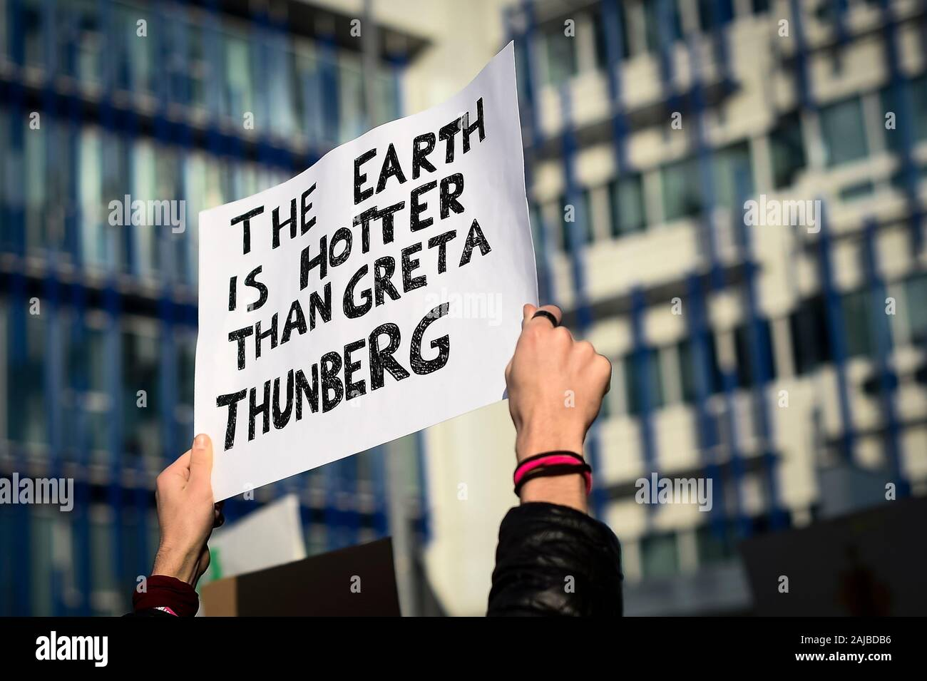 Turin, Italy - 29 November, 2019: A placard reading 'The earth is hotter than Greta Thunberg' is seen during 'Fridays for future' demonstration, a worldwide climate strike against governmental inaction towards climate breakdown and environmental pollution. Credit: Nicolò Campo/Alamy Live News Stock Photo