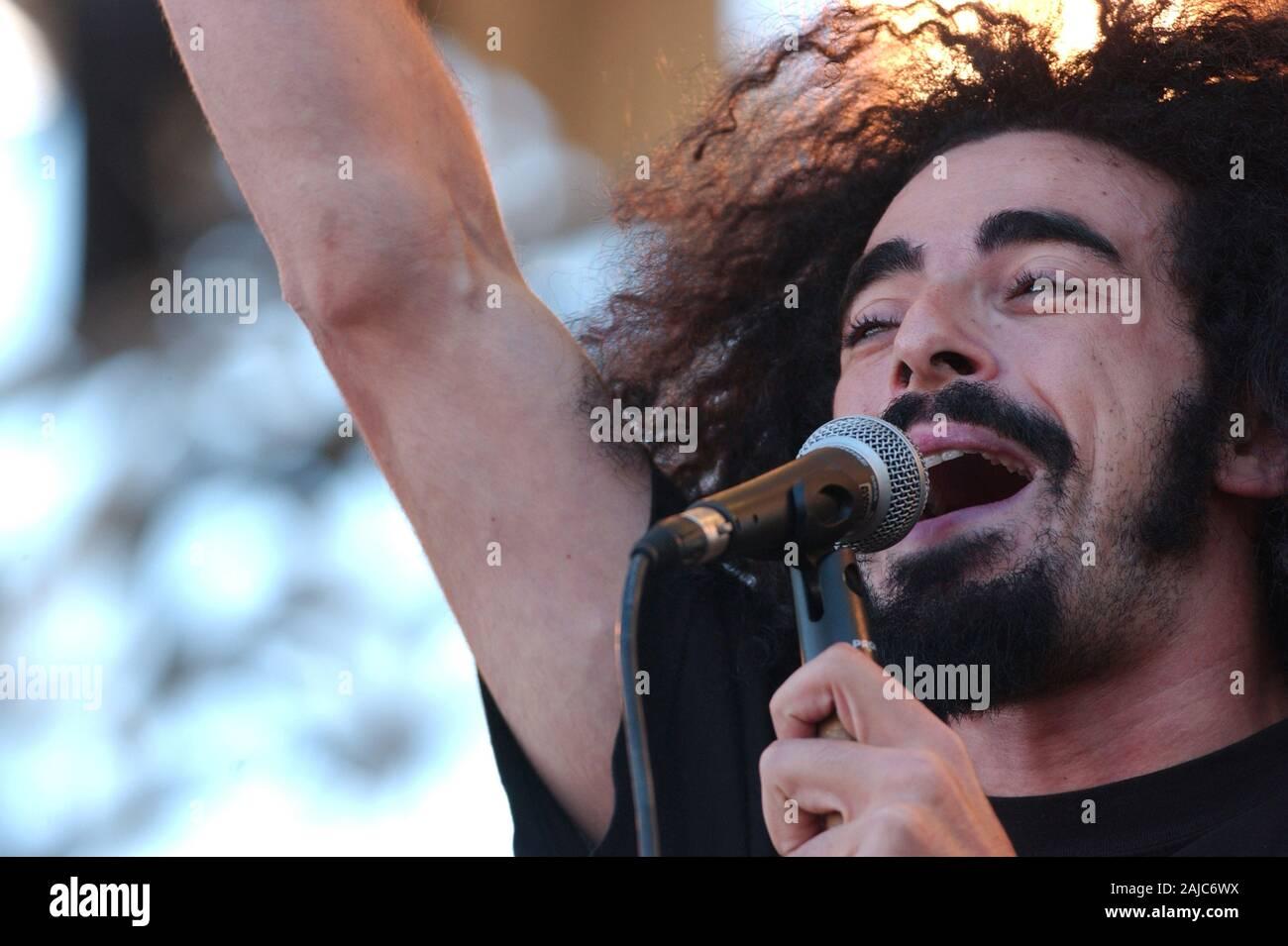 "Italy Imola , 18-19-20 June 2004 ""Heineken Jammin Festival 2004"" Autodromo di Imola: Caparezza during the concert Stock Photo"