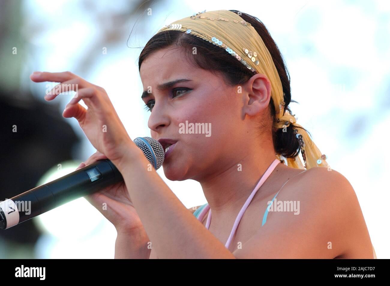 "Italy Imola , 18-19-20 June 2004 ""Heineken Jammin Festival 2004"" Autodromo di Imola: Nelly  Furtado during the concert Stock Photo"