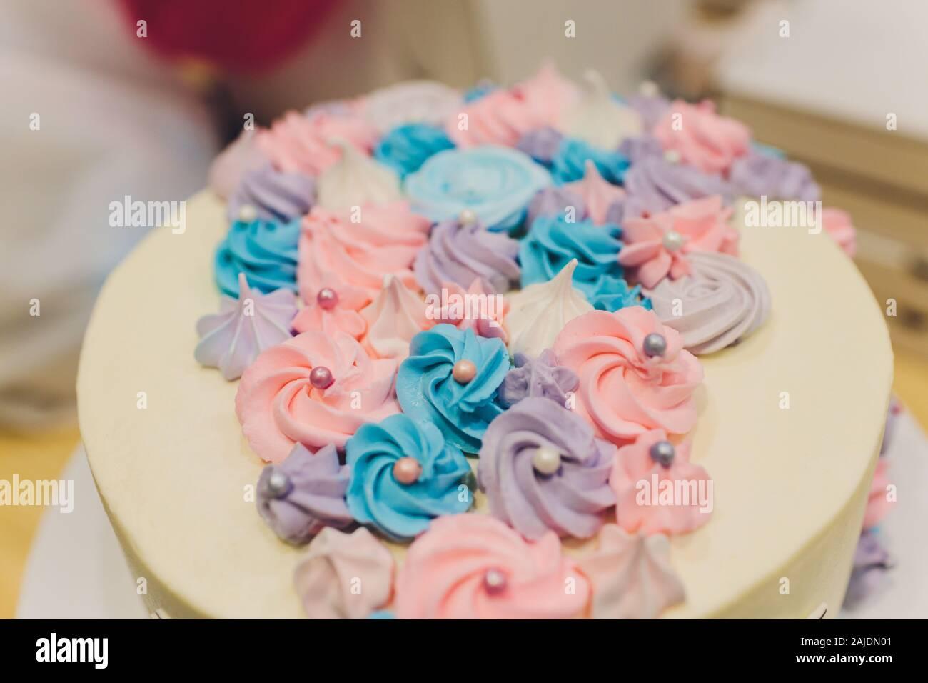 Surprising Cake Birthday Girl With Figure Figure Rainbow And Unicorn Stock Funny Birthday Cards Online Elaedamsfinfo