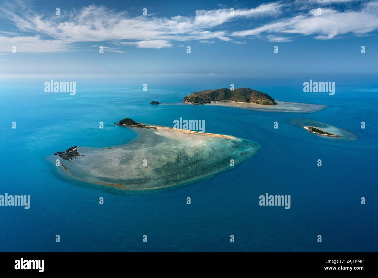 Aerial of Hayman Island, part of the famous Whitsunday Islands. Stock Photo