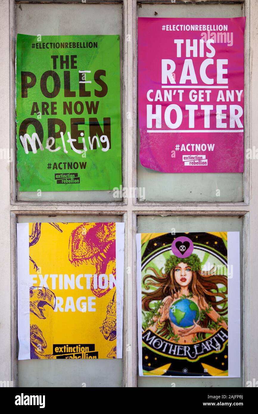 Extinction Rebellion Posters on Vacant Property Facade in London, Wandsworth, UK Stock Photo