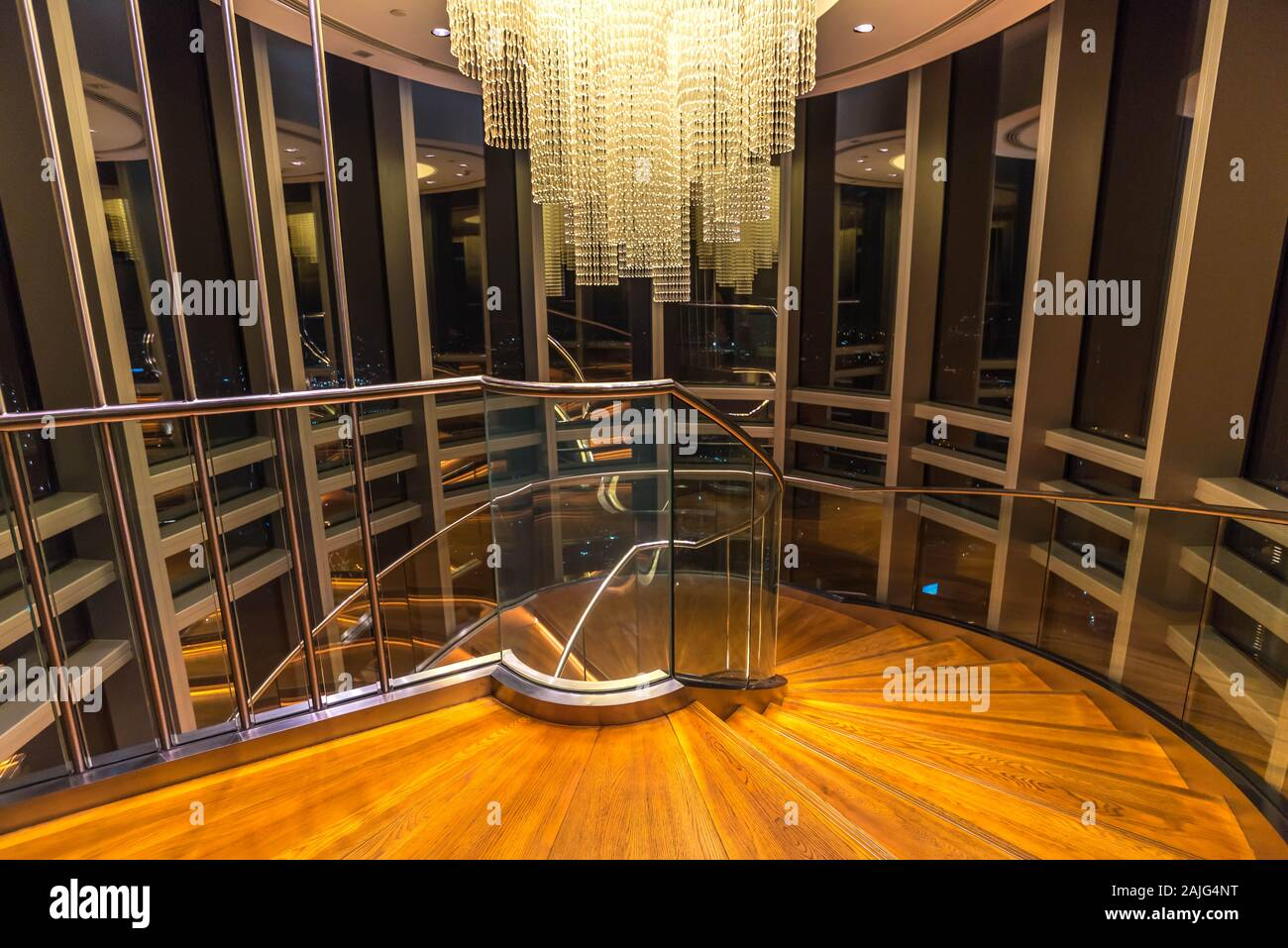 Dubai United Arab At The Top Interior Of Burj Khalifa Spiral Winding Staircase Stairs Floor 124 125 And Crystal Chandelier Interiors Stock Photo Alamy