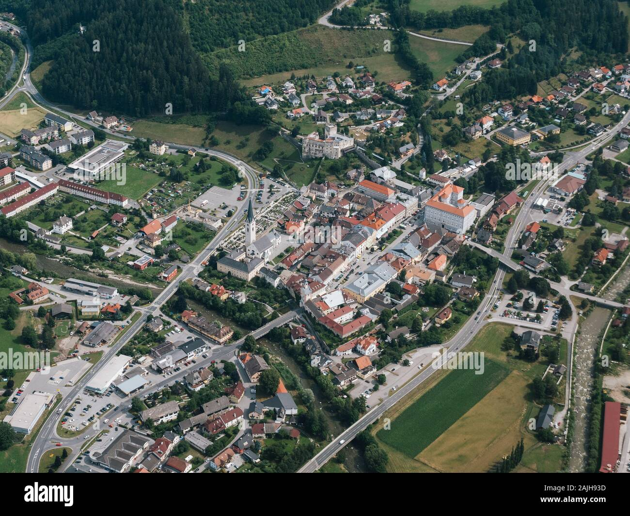 Gmuend in Carinthia, Austria - Aerial View - Medieval Town Center and Tourist Attraction Stock Photo