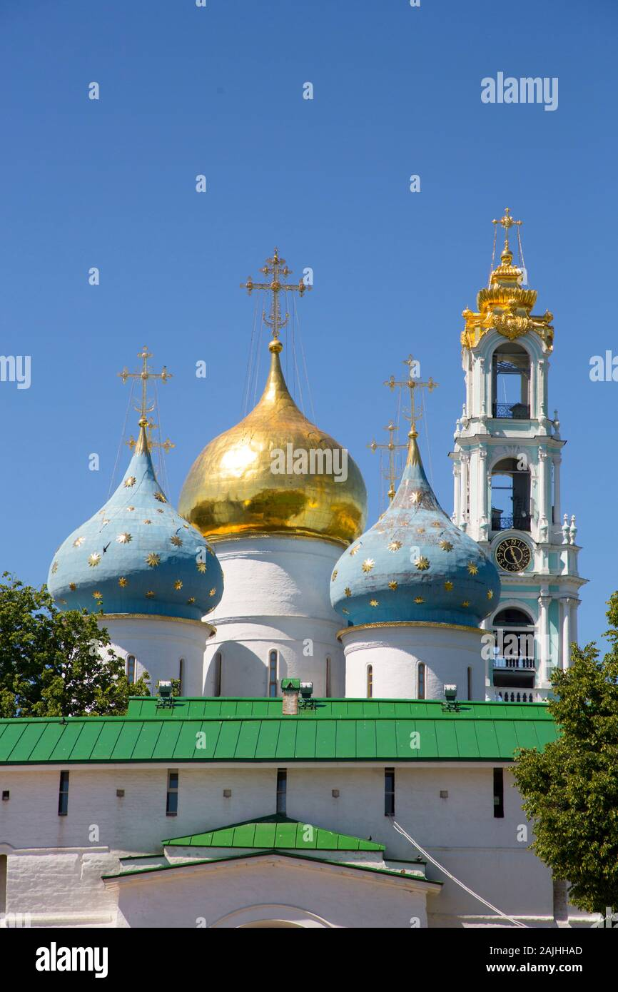 Holy Dormition Cathedral, The Holy Trinity St Sergius Lavra, Sergiev Posad, Moscow Oblast, Russia Stock Photo