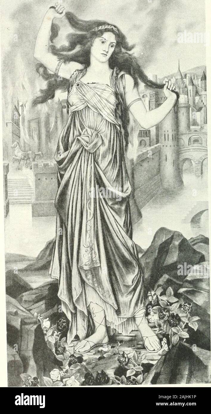 History Repro on Canvas Helen of Troy by English Painter Evelyn De Morgan