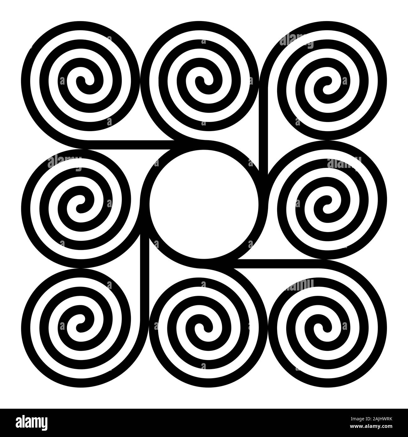 Eight arithmetic spirals around a circle forming a square shaped pattern. Archimedean spirals of same intervals connected with a circle in the centre. Stock Photo