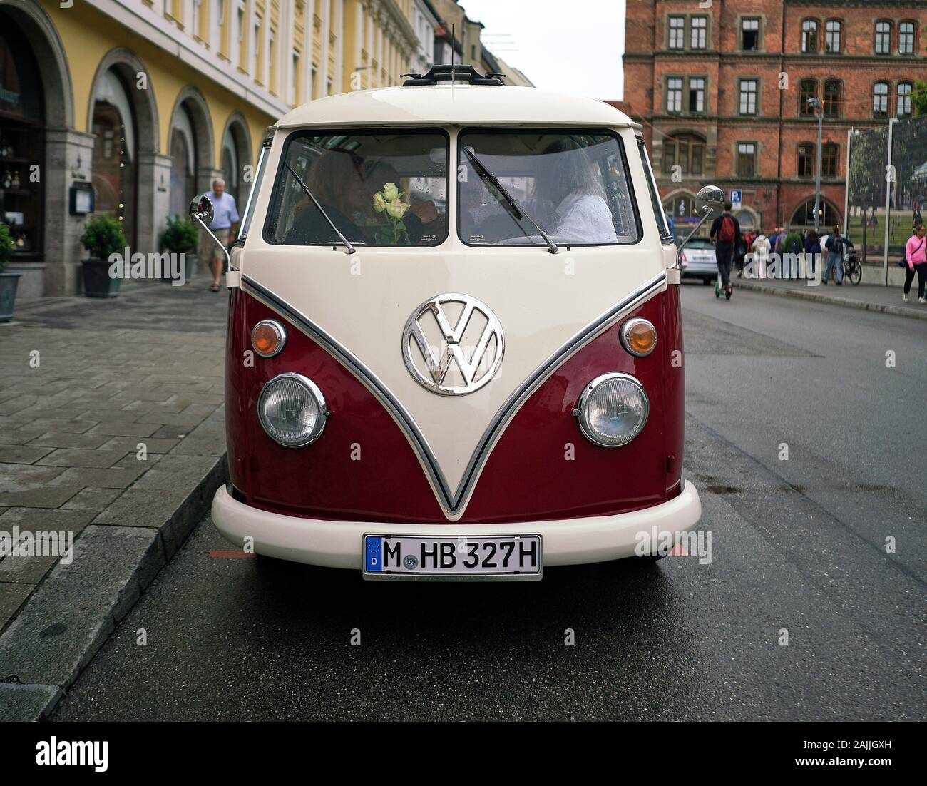 Front View Of An Old Vintage Volkswagen Camper Van Parked In The Streets Of Old Town Munich Germany Stock Photo Alamy