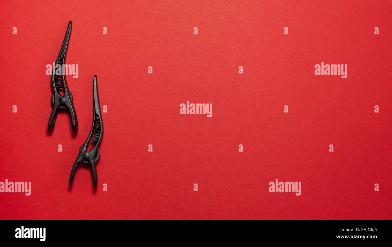 Banner Flat Lay Of Professional Hair Clip On Red Background Flat Lay Top View Hairdresser Salon Equipment Concept With Copy Space Stock Photo Alamy