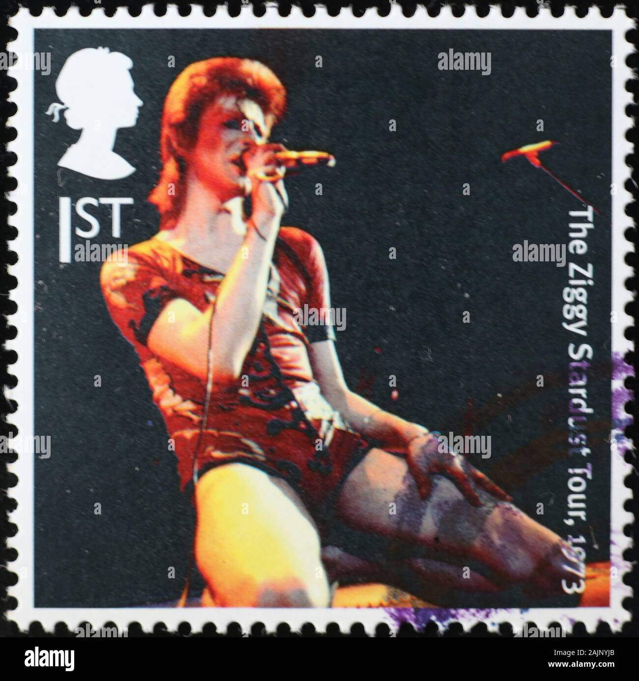 David Bowie in concert on postage stamp Stock Photo