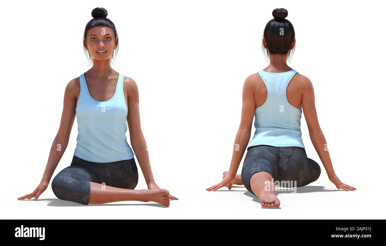 Front and Back Poses of a Virtual Woman in Yoga Half Pigeon Pose ...