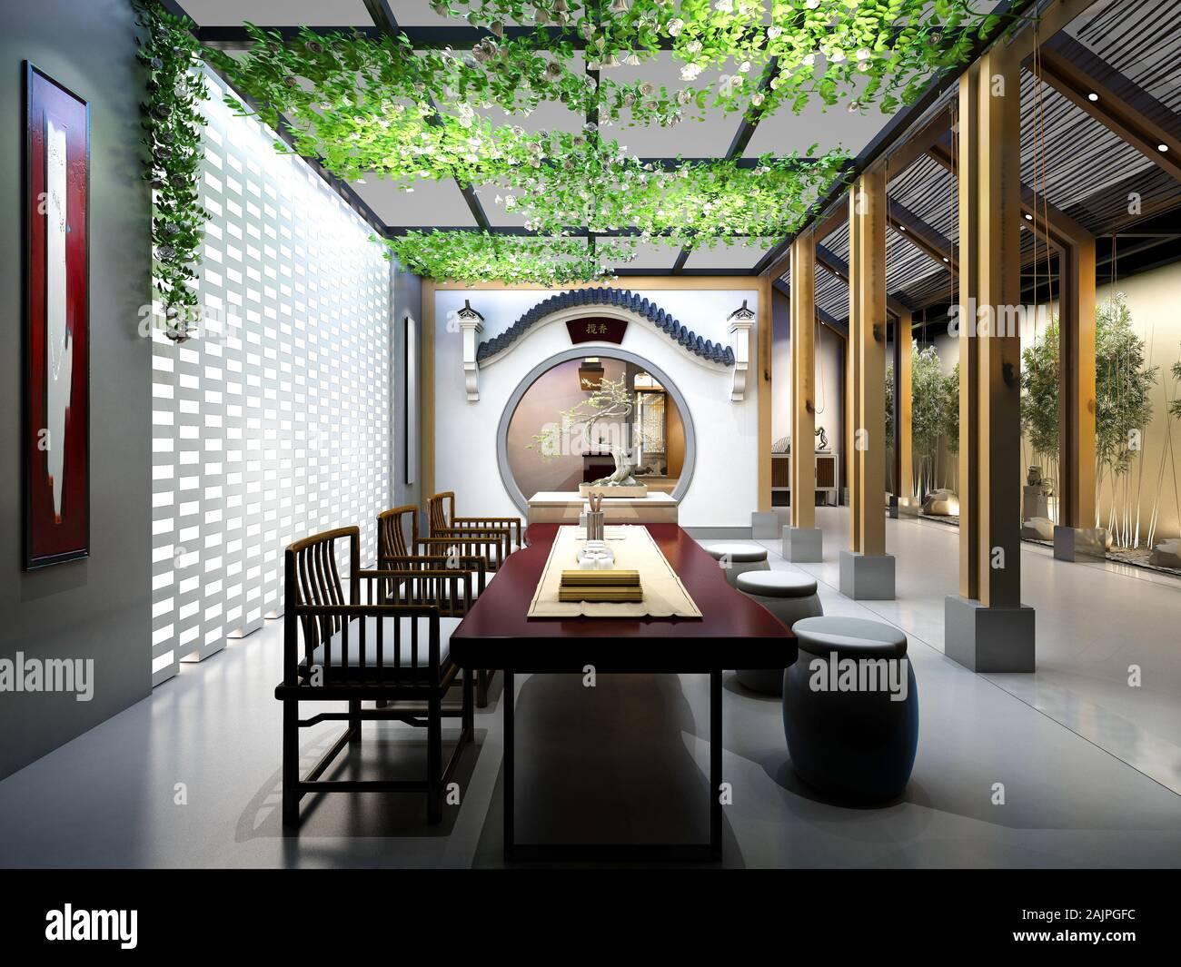 3d render of modern home interior living room Stock Photo