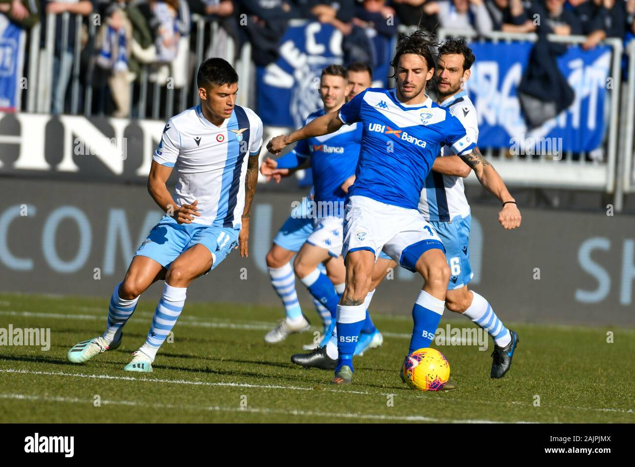Brescia Italy 05 Jan 2020 Joaquin Correa Of Ss Lazio And Ernesto Torregrossa Of Brescia Calcio