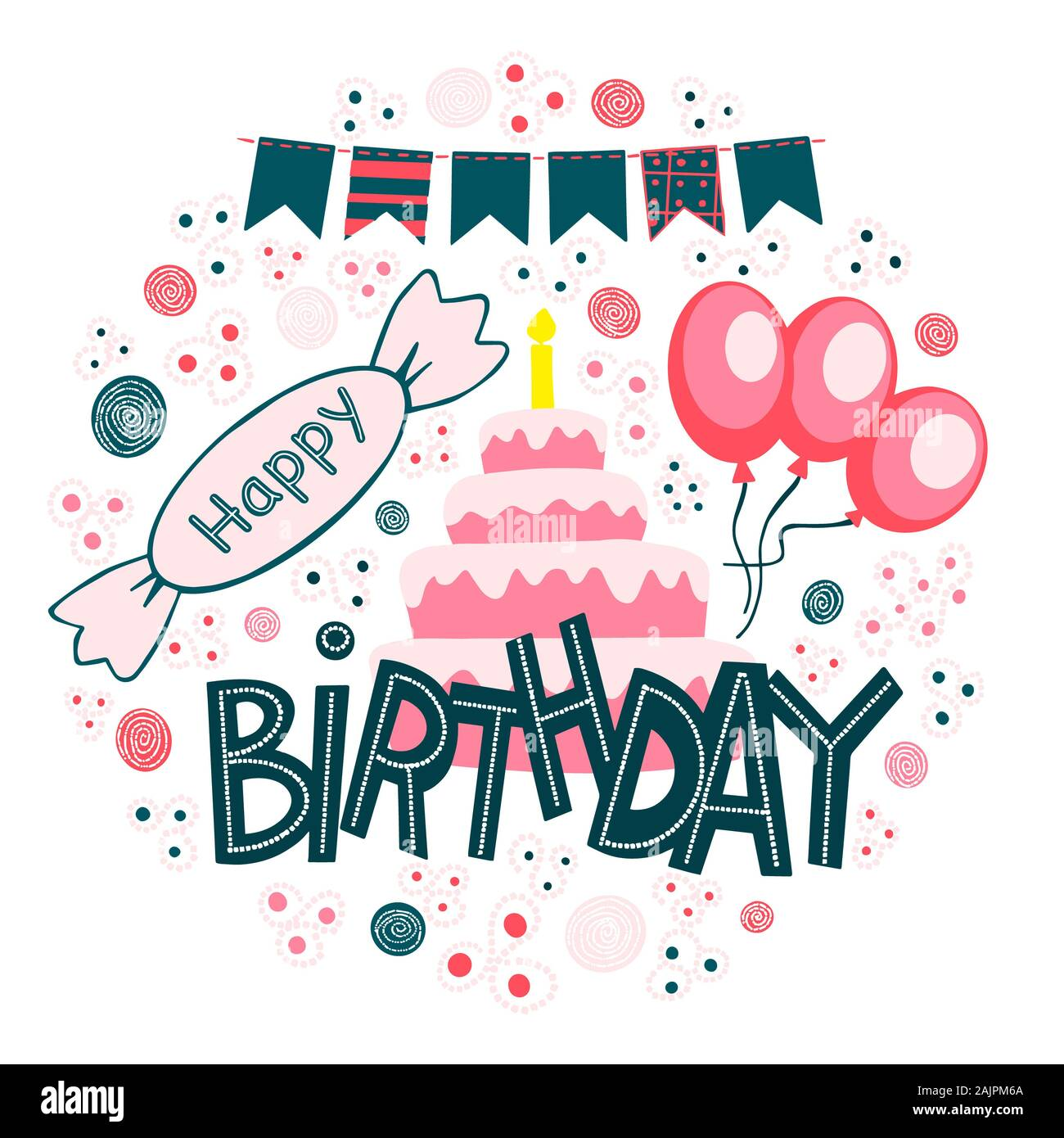 Sensational Happy Birthday Hand Drawn Lettering In Frame Congratulations And Funny Birthday Cards Online Bapapcheapnameinfo