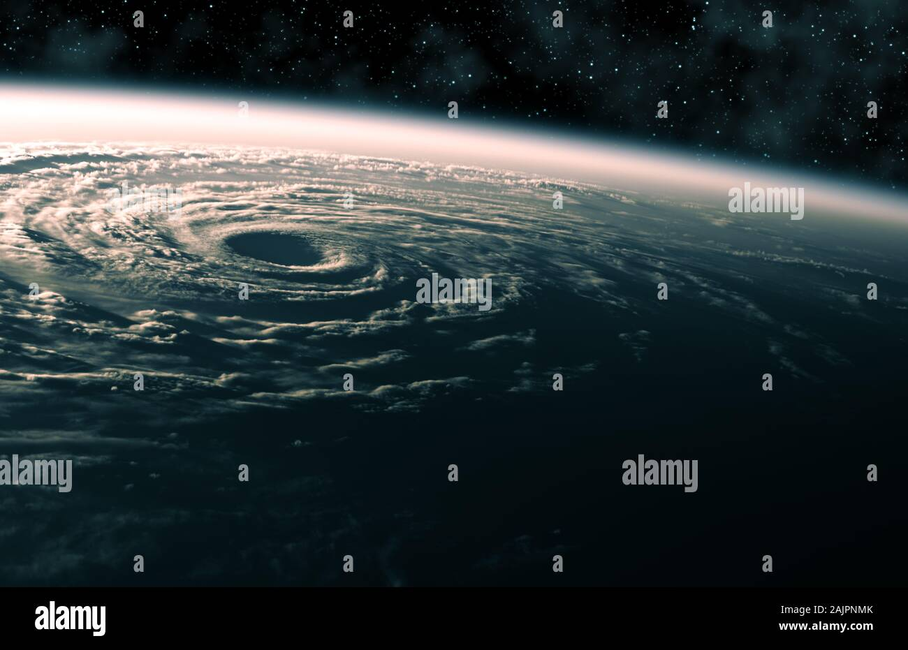 Large Hurricane Raging On Planet Earth. View From Space. Stock Photo