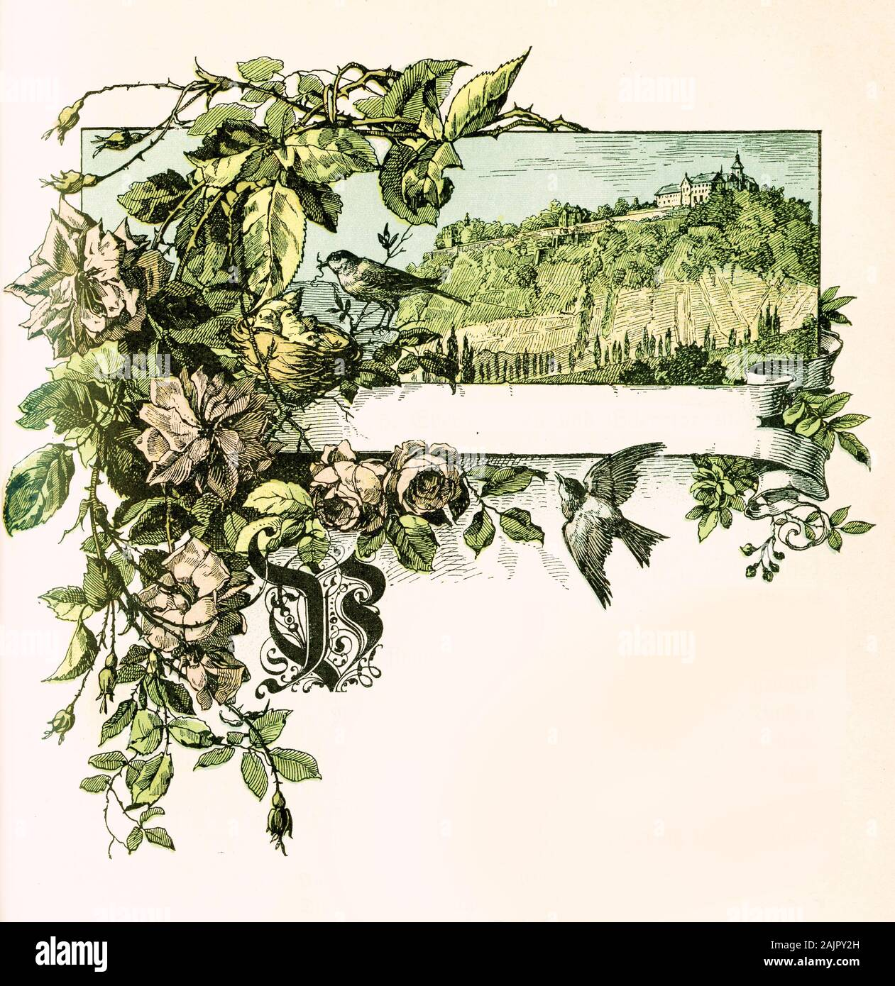 Beautiful front chapter decoration with spring scene: hill with cloister or catle on top, sparrows, rose strays, capital letter B in old German style and tag label with copyspace Stock Photo