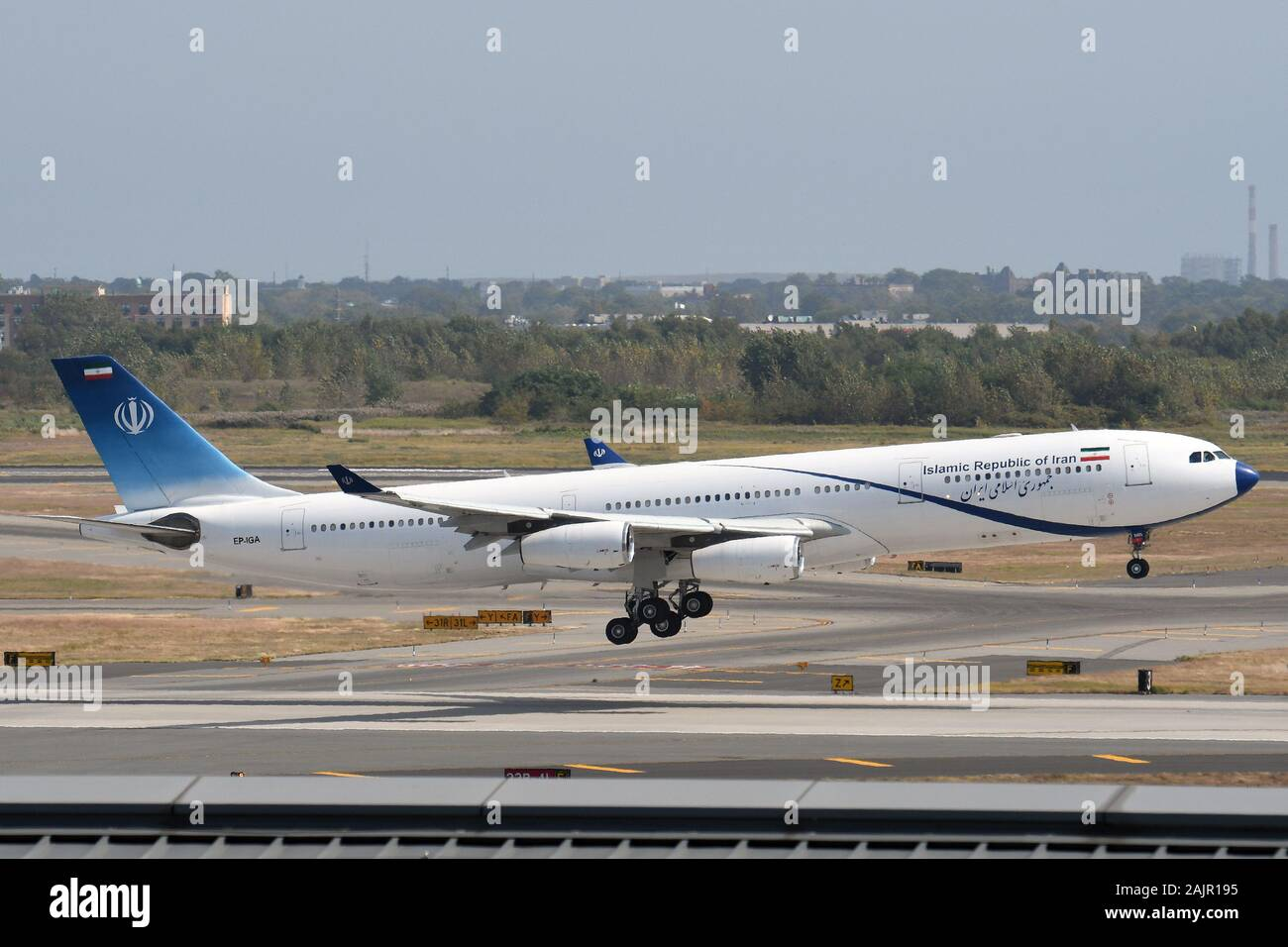 ISLAMIC REPUBLIC OF IRAN GOVERNMENT'S AIRBUS A340 AT NEW YORK. Stock Photo
