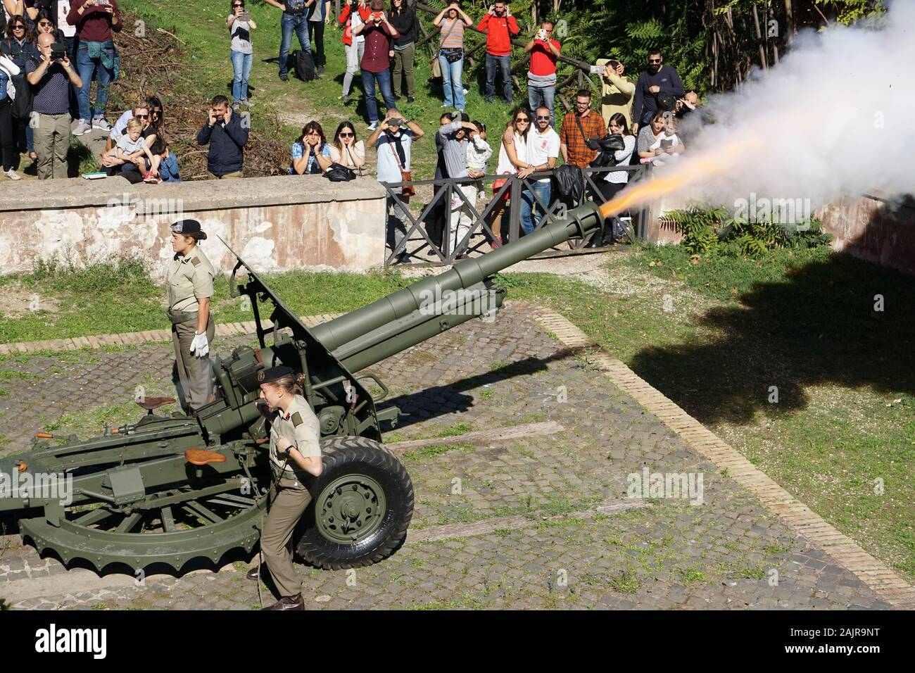 ROME, ITALY - OCTOBER 10, 2017: the traditional cannon shot of midday on the Gianicolo hill in Rome, Italy Stock Photo