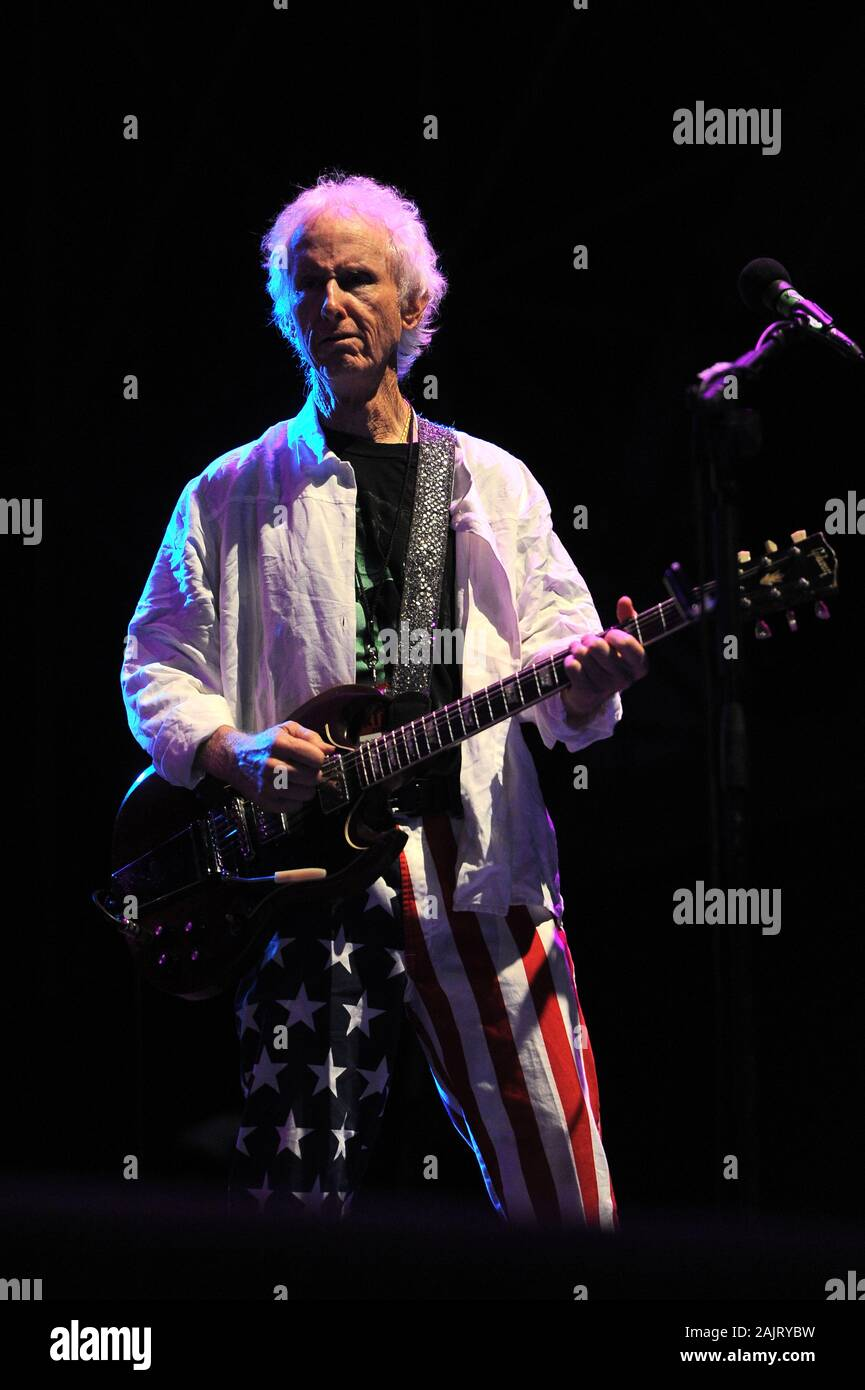 """Milan Italy, 08 July 2012, live concert of Ray Manzarek and Robby Krieger of The Doors , at the """"Ippodromo del Galoppo"""": Robby Krieger during the concert Stock Photo"""