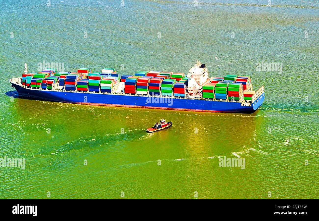 Aerial view to Bayonne Container Ship reflex Stock Photo