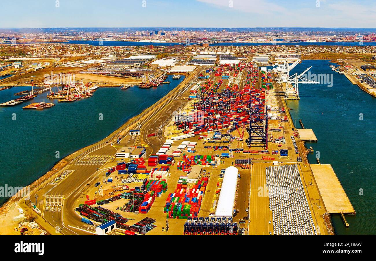Aerial view to global container terminal in Bayonne reflex Stock Photo