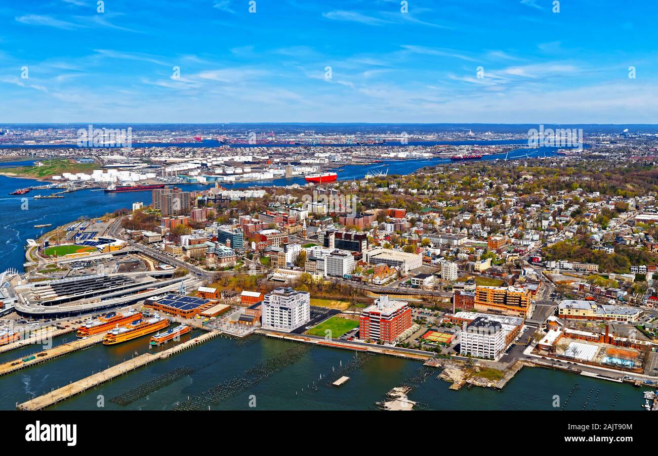Aerial view of Port Newark in Bayonne reflex Stock Photo