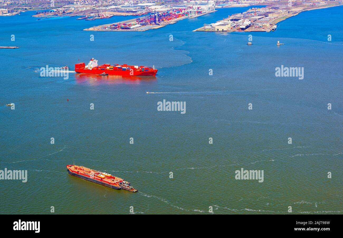 Container Ship and Bayonne Dry Dock and Repair reflex Stock Photo