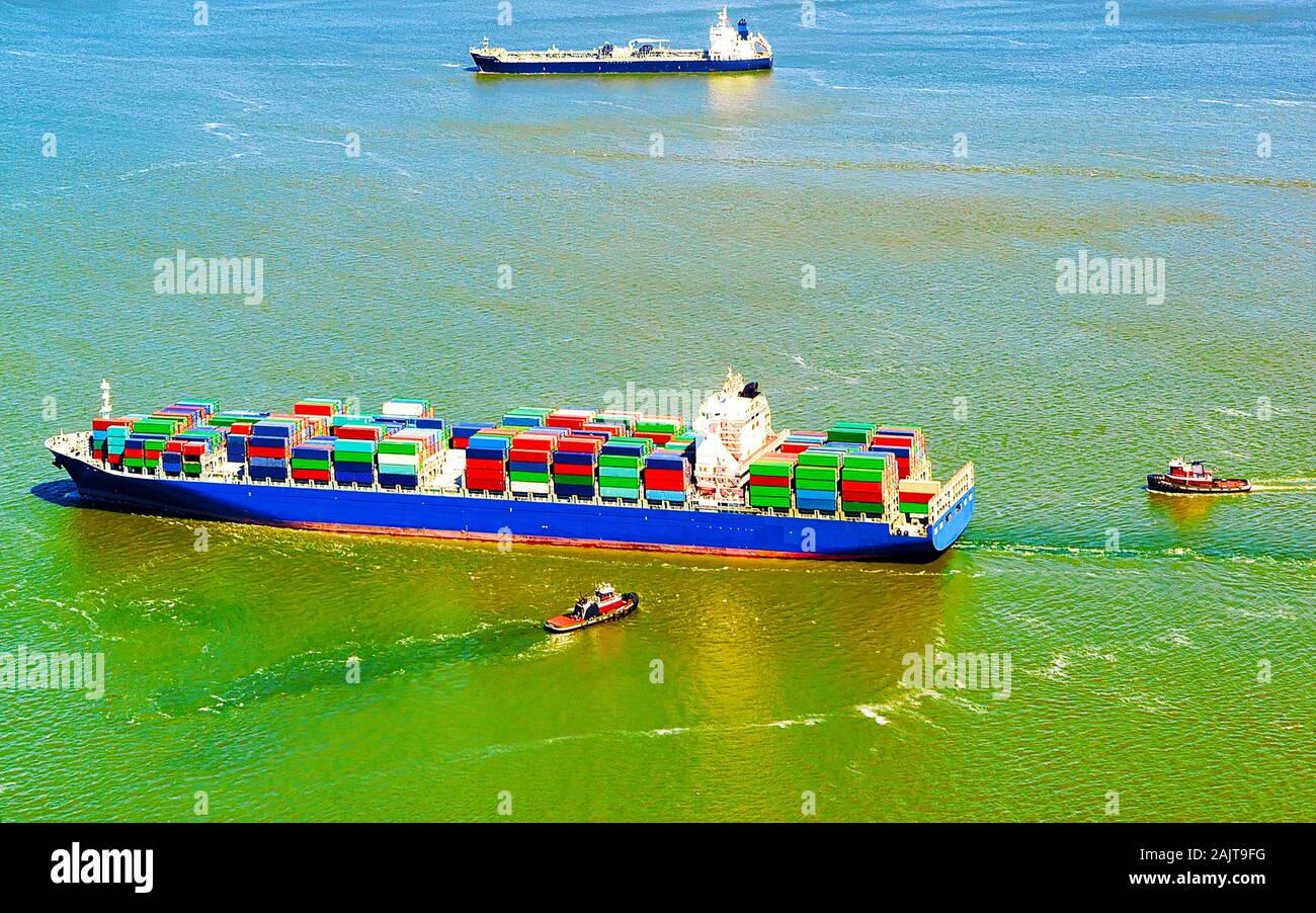 Aerial view of Bayonne Container Ship reflex Stock Photo
