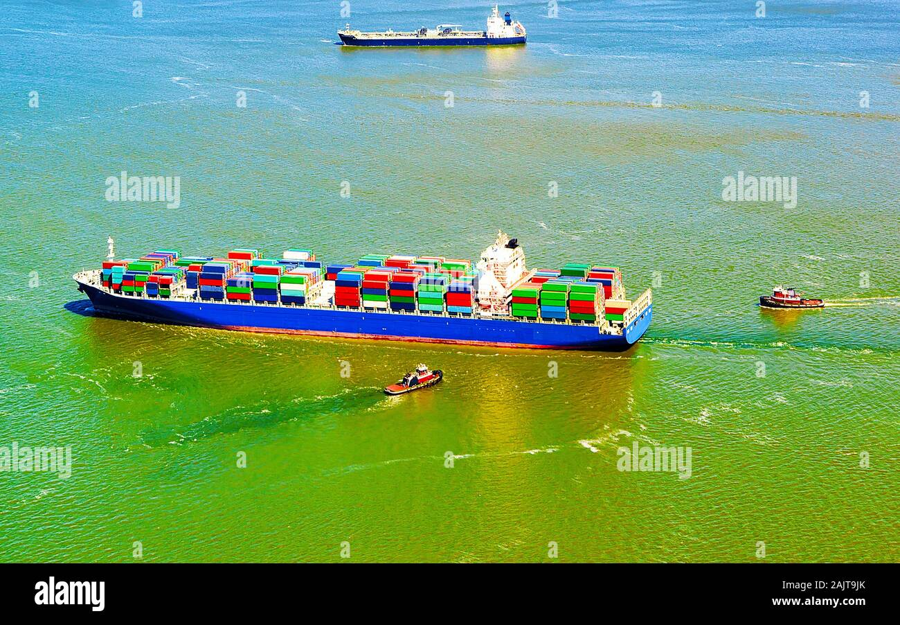 Aerial view on Bayonne Container Vessel reflex Stock Photo
