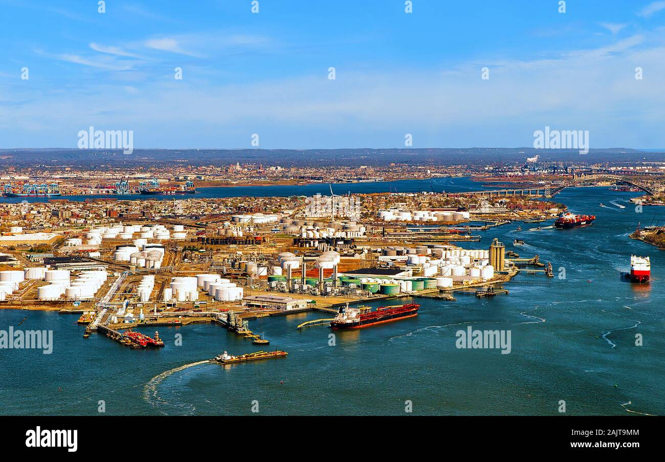 Aerial view of oil storages in Bayonne reflex Stock Photo