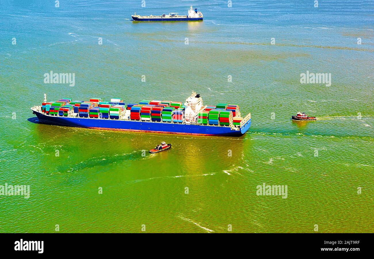 Aerial view of Bayonne Container Vessel reflex Stock Photo