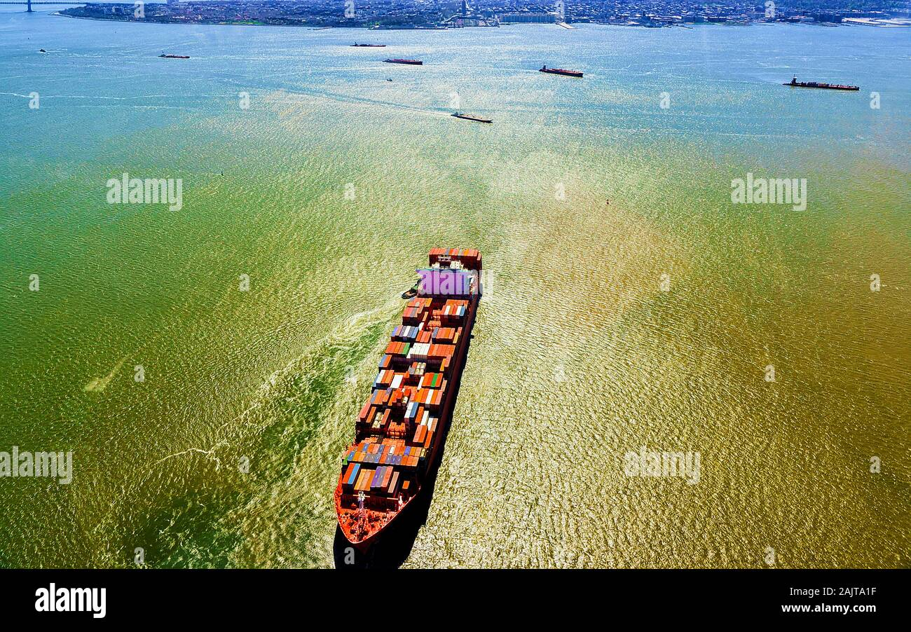 Aerial view on Bayonne Containers Vessel reflex Stock Photo