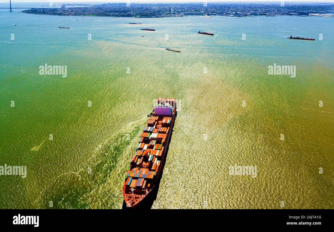 Aerial view to Bayonne Container Vessel reflex Stock Photo