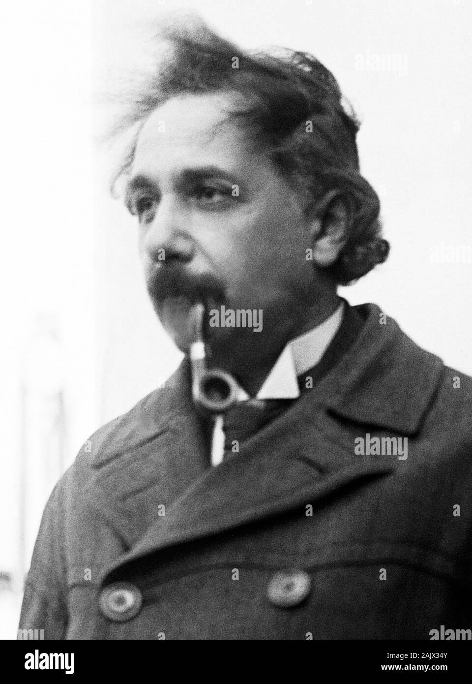 Vintage photo of theoretical physicist Albert Einstein (1879 – 1955). Photo by Bain News Service taken in April 1921 on his arrival in New York. Stock Photo