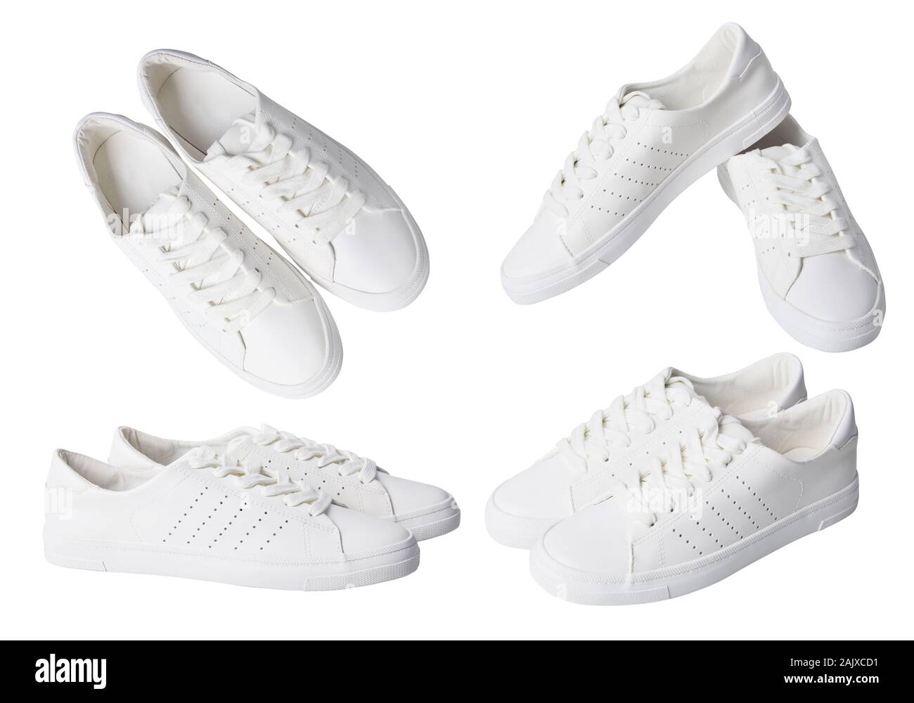 Pair of white  trendy leather sneakers  shoes on laces isolated on white background Stock Photo