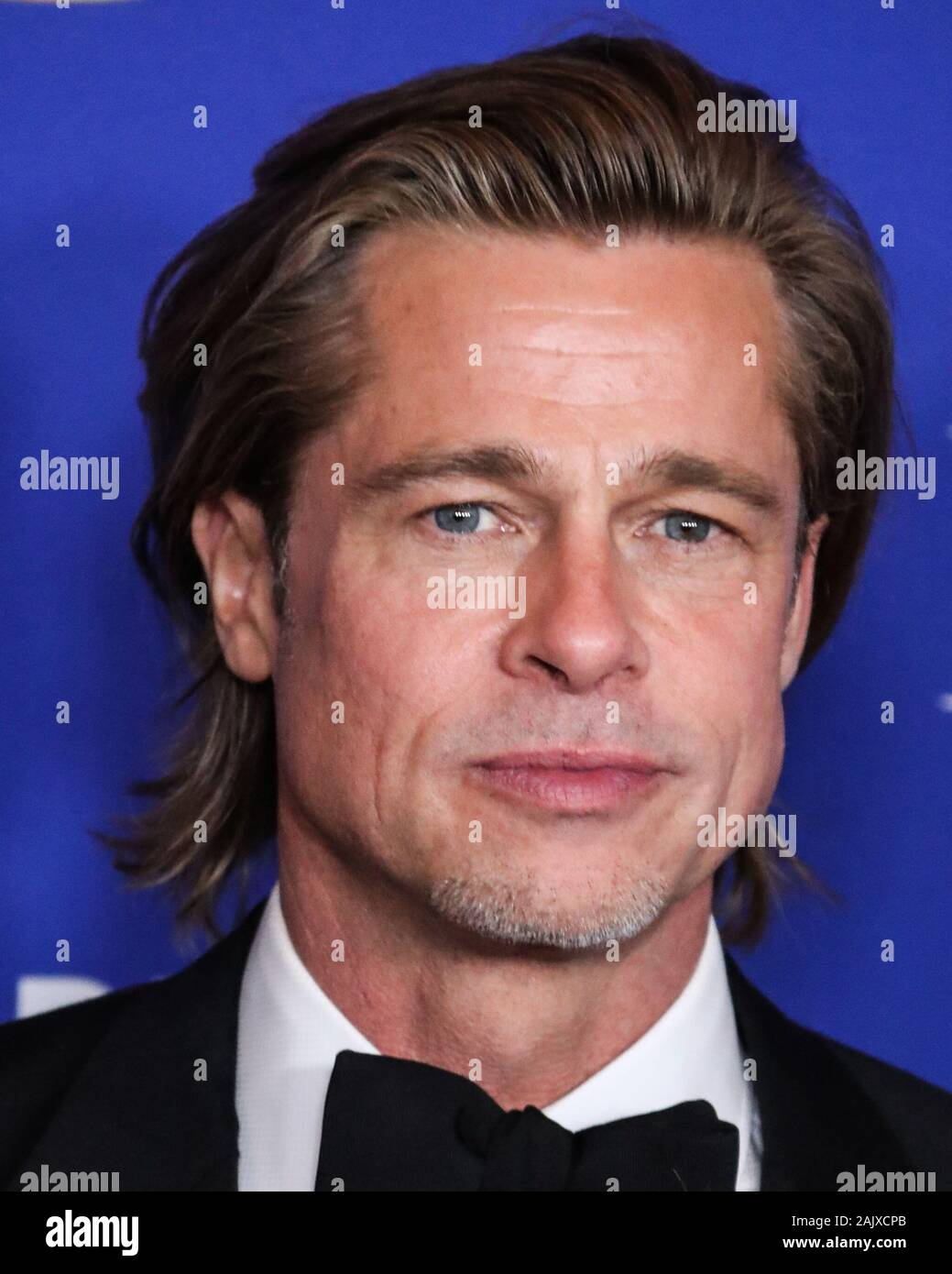 BEVERLY HILLS, LOS ANGELES, CALIFORNIA, USA - JANUARY 05: Actor Brad Pitt wearing a Brioni tux poses in the press room at the 77th Annual Golden Globe Awards held at The Beverly Hilton Hotel on January 5, 2020 in Beverly Hills, Los Angeles, California, United States. (Photo by Xavier Collin/Image Press Agency) Stock Photo