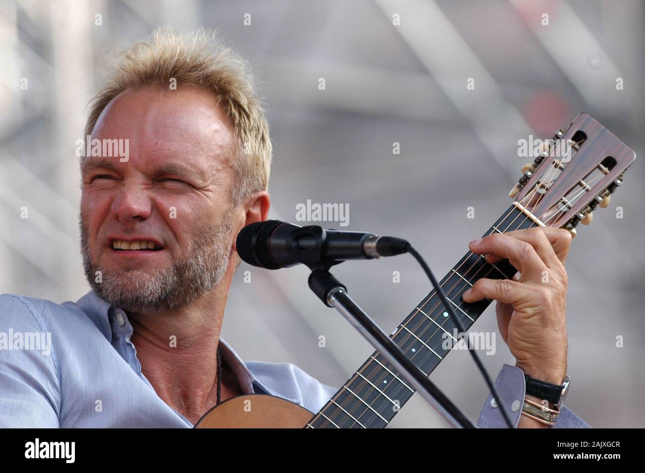 """Verona Italy 09/20/2003, Arena : Sting during the soundcheck before the concert of the musical event """"Festivalbar 2003"""". Stock Photo"""