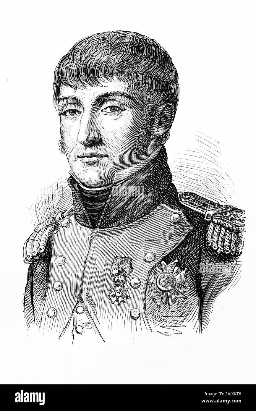 Louis Napoleon Bonaparte, Louis I, King of Holland. Younger brother of Napoleon I. Born Luigi Buonaparte, 1778-1846. Antique illustration.1890. Stock Photo