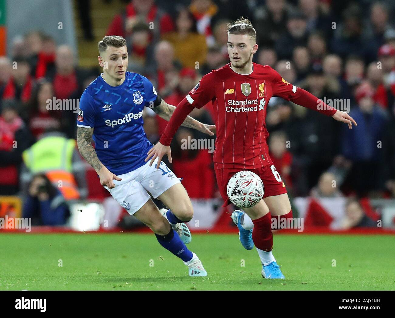 Anfield Liverpool Merseyside Uk 5th Jan 2020 English Fa Cup Football Liverpool Versus Everton Harvey Elliott Of Liverpool Shields The Ball From Lucas Digne Of Everton Strictly Editorial Use Only No