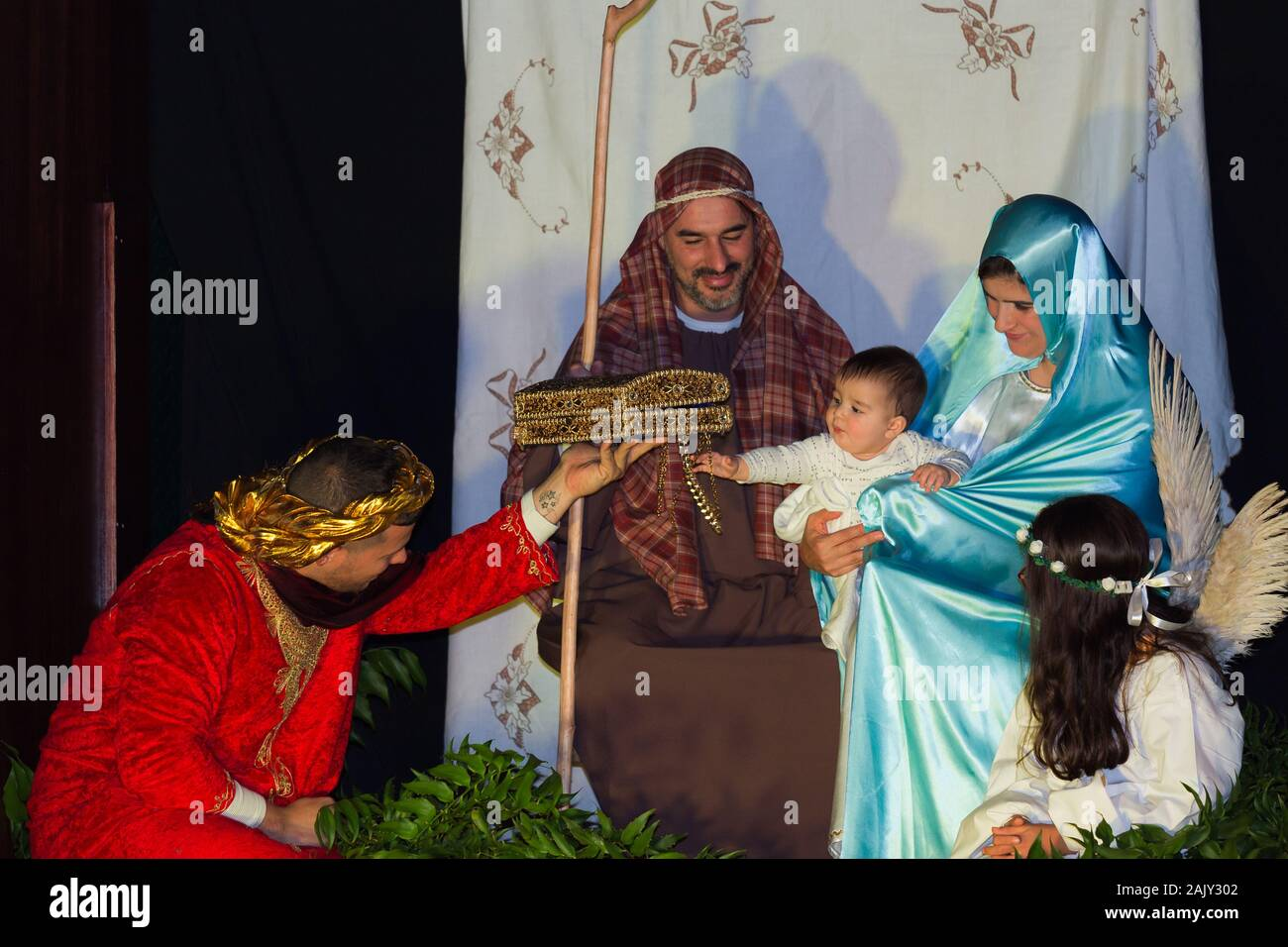 Reenactment of the christmas nativity scene with real people in Funchal city, Madeira island, Portugal Stock Photo