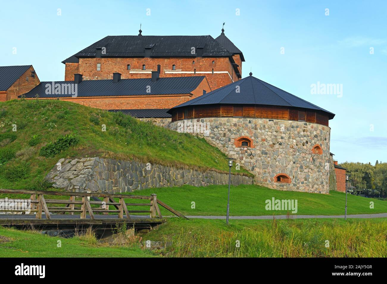 Medieval fortress on coast of lake Vanajavesi in old Hameenlinna, Finland Stock Photo