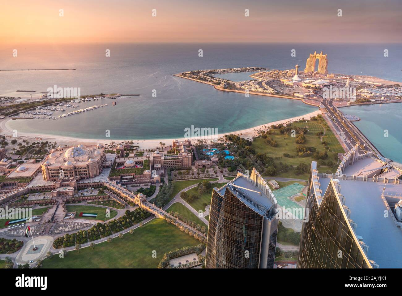Abu Dhabi United Arab Emirates Beautiful Aerial View From Observation Deck At 300 Etihad Towers Emirates Palace And Al Marina Village Stock Photo Alamy